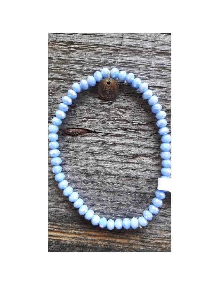 Armband Kristallarmband Perlen hellblau blau klein Glitzer Schimmer elastisch