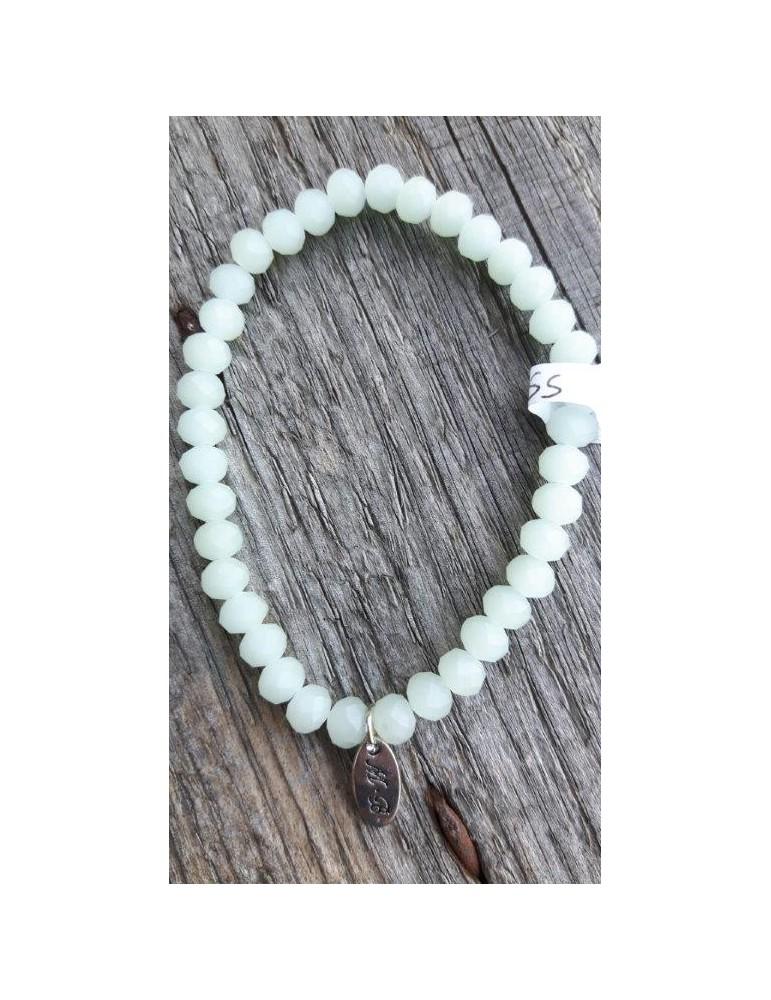 Armband Kristallarmband Perlen groß mint grün matt elastisch