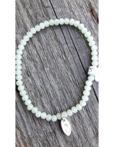 Armband Kristallarmband Perlen klein mint grün matt elastisch