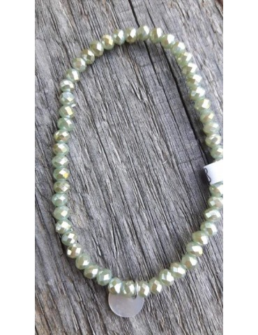 Armband Kristallarmband Perlen klein grün braun Glitzer Schimmer elastisch