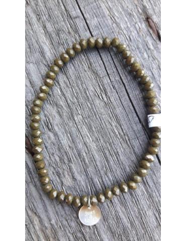Armband Kristallarmband Perlen klein grün silber Glitzer Schimmer elastisch