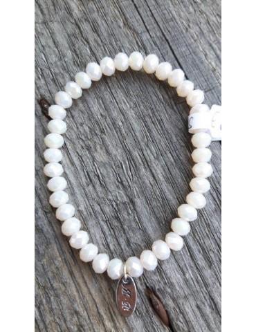 Armband Kristallarmband Perlen groß creme beige Glitzer Schimmer elastisch