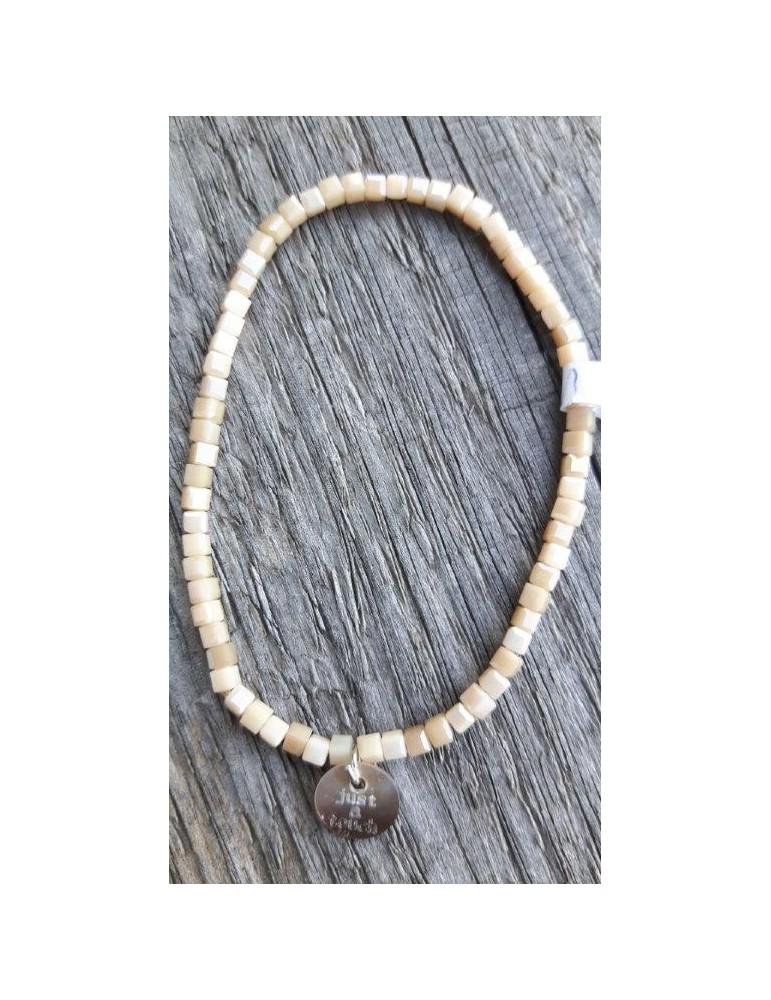 Armband Kristallarmband Perlen klein eckig beige braun Glitzer Schimmer elastisch