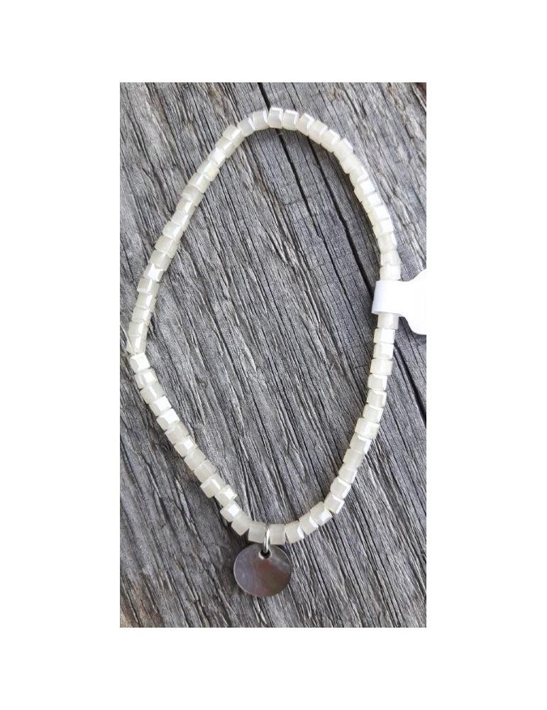 Armband Kristallarmband Perlen klein eckig creme beige Glitzer Schimmer elastisch