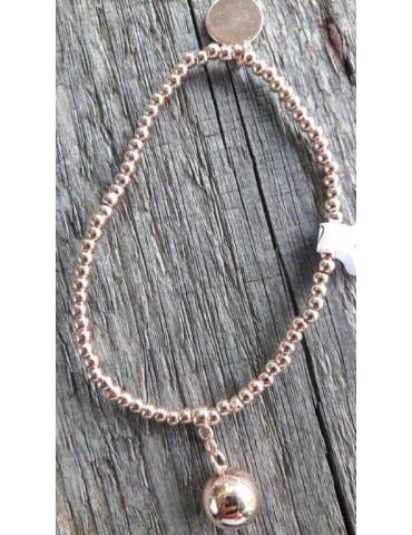 Armband Metallarmband Perlen rose kupfer Kugel Glanz Schimmer elastisch