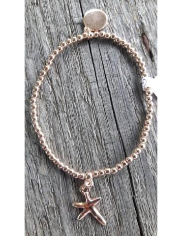 Armband Metallarmband Perlen rose kupfer See Stern Glanz Schimmer elastisch