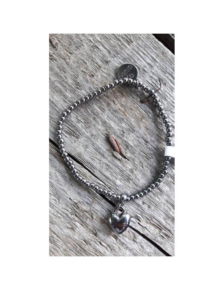 Armband Metallarmband Perlen klein anthrazit grau Herz Glanz Schimmer elastisch