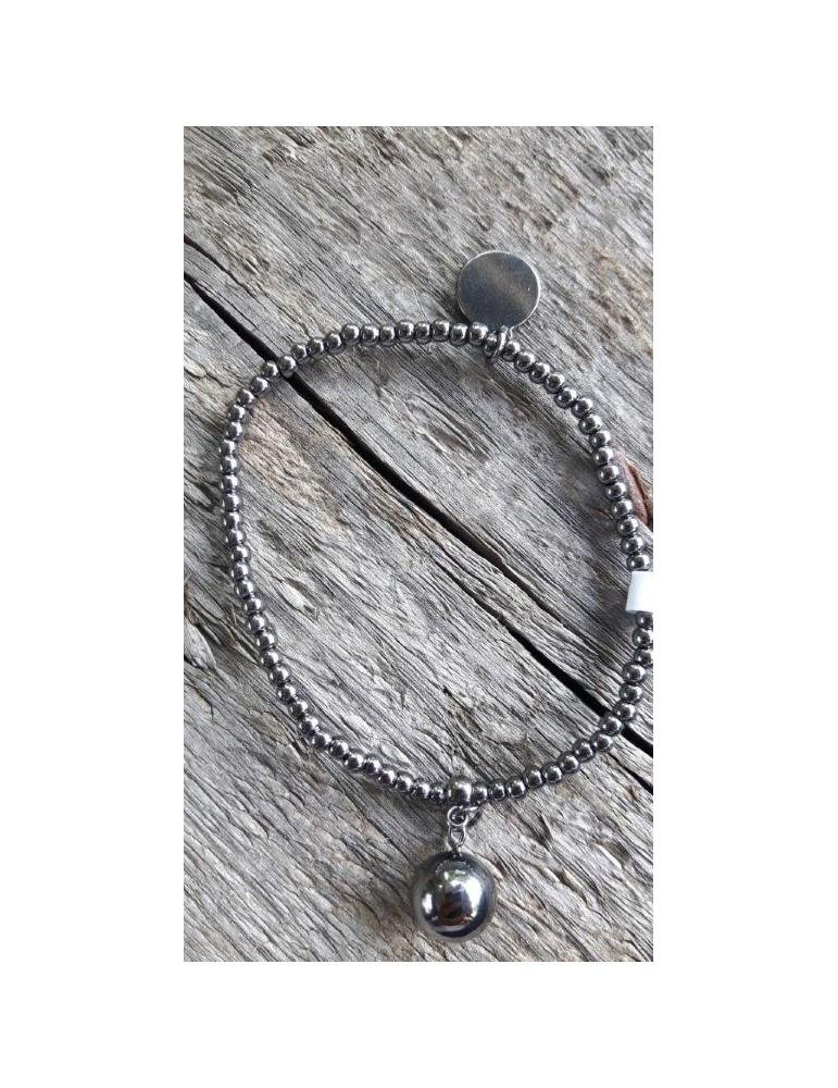 Armband Metallarmband Perlen klein anthrazit grau Kugel Glanz Schimmer elastisch