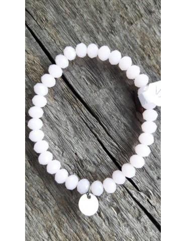 Armband Kristallarmband Perlen groß rose rosa Glitzer Schimmer elastisch