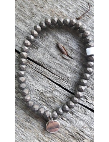 Armband Kristallarmband Perlen groß grau braun Matt elastisch