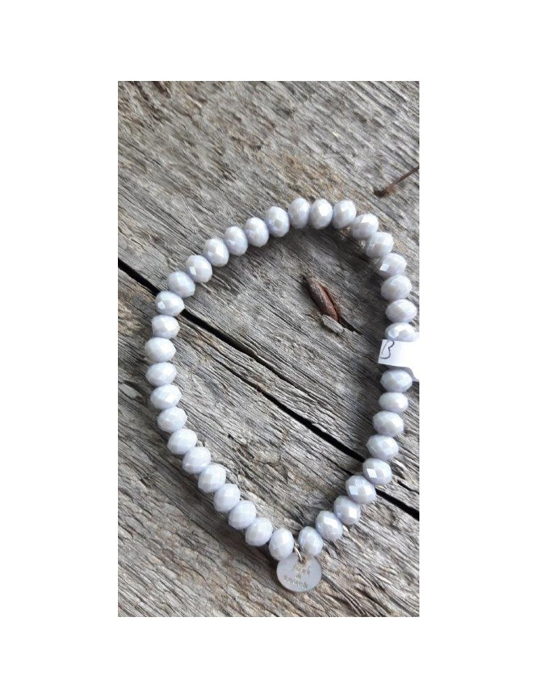 Armband Kristallarmband Perlen groß hellgrau grau Schimmer Glanz elastisch