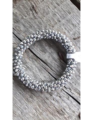Armband Kristallarmband Perlen dick silber grau Glanz Schimmer elastisch