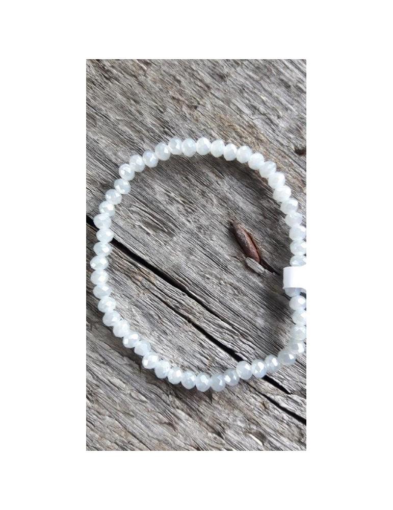 Armband Kristallarmband Perlen klein hellgrau klar Glitzer Schimmer elastisch