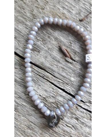 Armband Kristallarmband Perlen klein grau Glitzer Schimmer elastisch
