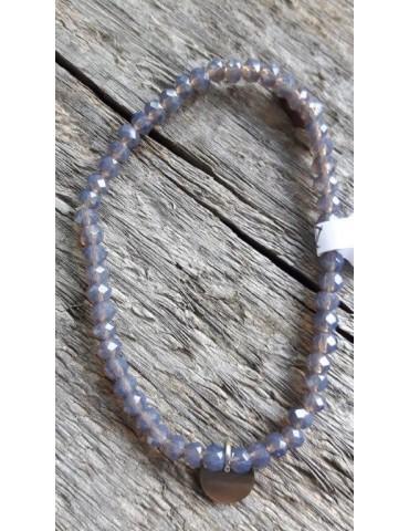 Armband Kristallarmband Perlen klein grau klar Glitzer Schimmer elastisch