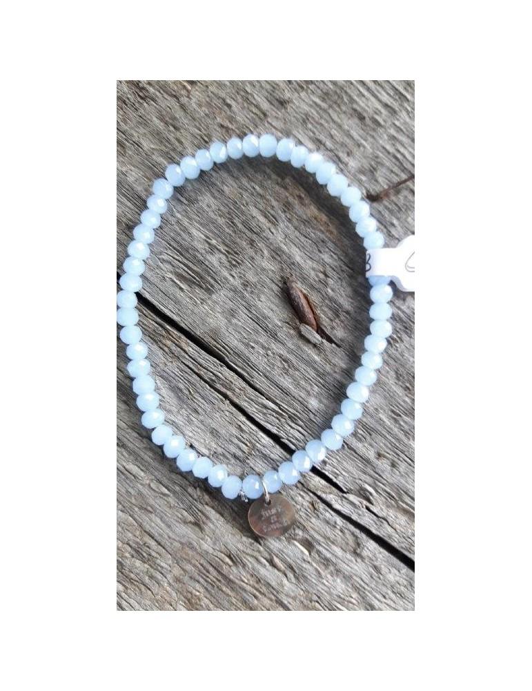 Armband Kristallarmband Perlen klein hellblau weiß Glitzer Schimmer elastisch