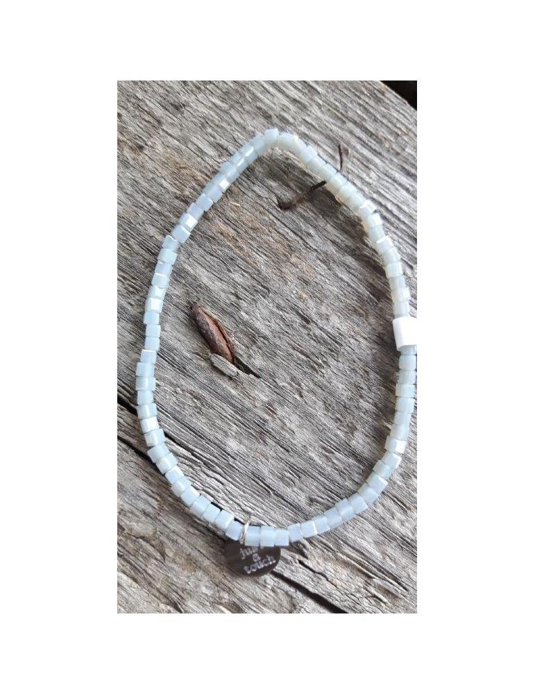 Armband Kristallarmband Perlen Mini eckig bleu hellgrau Glitzer Schimmer elastisch