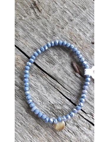 Armband Kristallarmband Perlen klein bleu braun Glitzer Schimmer elastisch