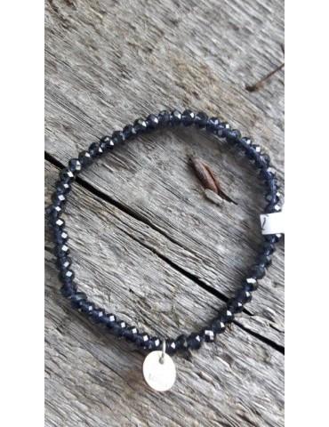 Armband Kristallarmband Perlen klein dunkelblau durchsichtig Glitzer Schimmer elastisch