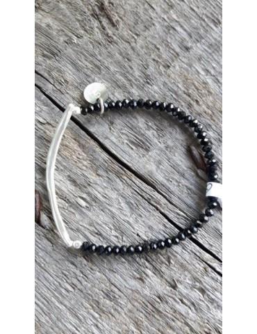 Armband Kristallarmband Perlen schwarz silber Glitzer Schimmer elastisch