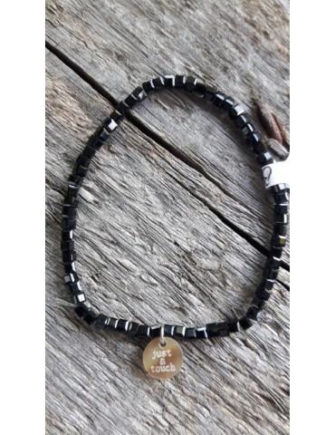 Armband Kristallarmband Perlen Mini eckig schwarz Glitzer Schimmer elastisch