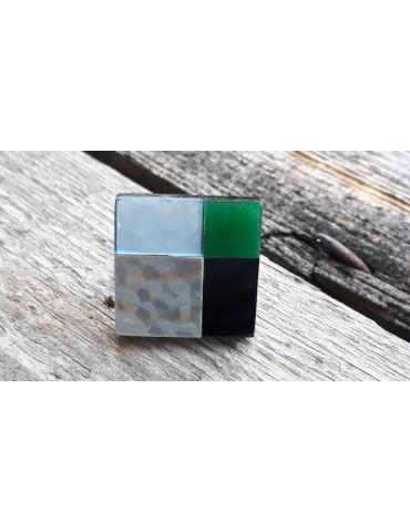 Culture Mix Ring Damenring Metall Perlmutt schwarz silber grün eckig verstellbar 4767G