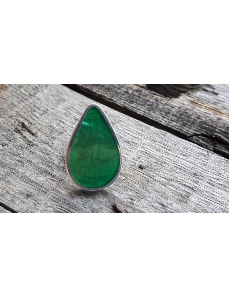 Culture Mix Ring Damenring Metall Perlmutt grün silber verstellbar 4785G