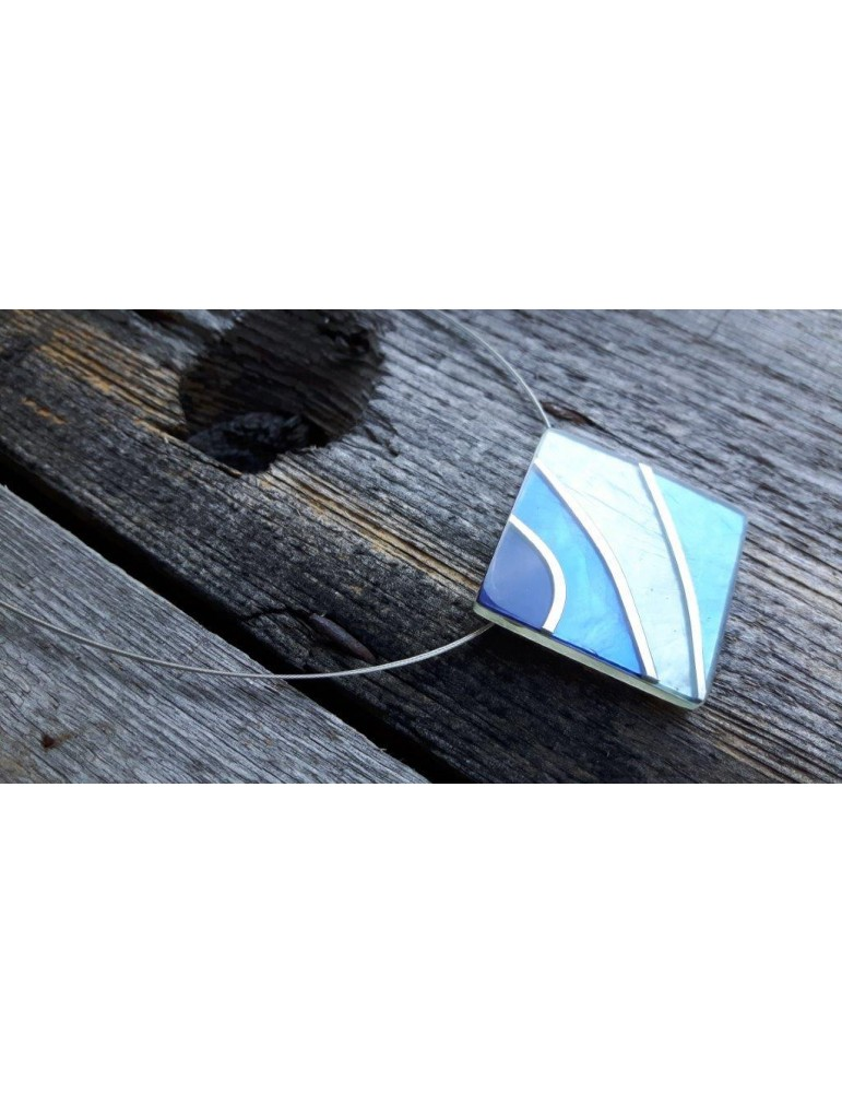 Culture Mix Kette Damen Halskette Blautöne silber eckig Draht 4397B