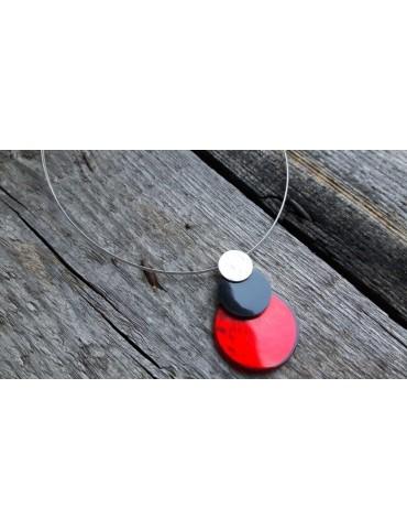Culture Mix Damen Kette Halskette rot schwarz silber rund Draht 4885R