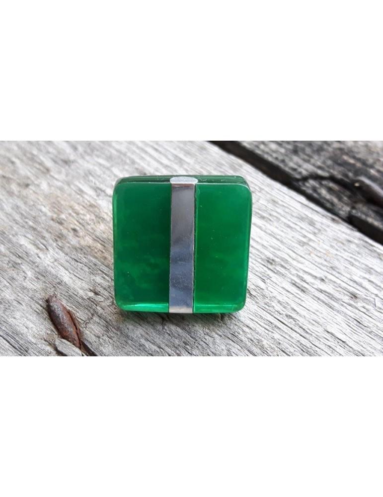 Culture Mix Ring Damenring Metall Perlmutt grün silber eckig verstellbar 4191G