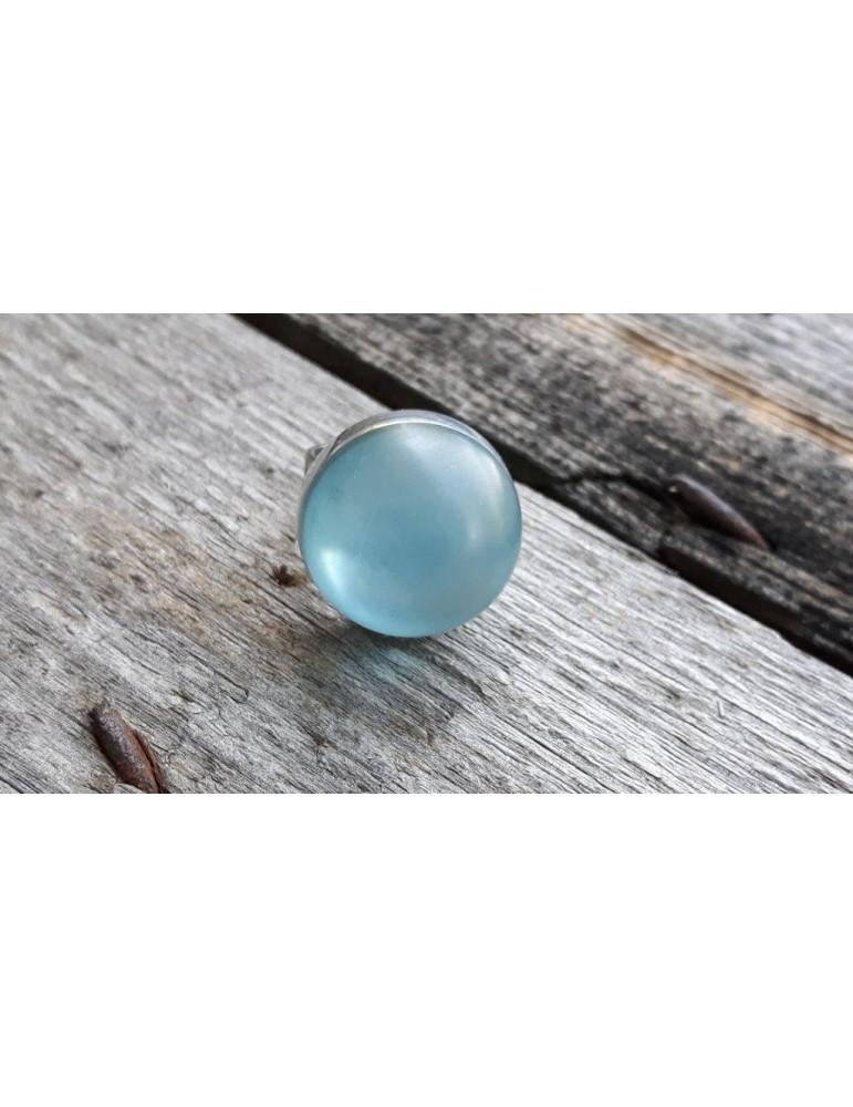 Culture Mix Ring Damenring Metall Perlmutt hellblau silber Halbkugel 4773