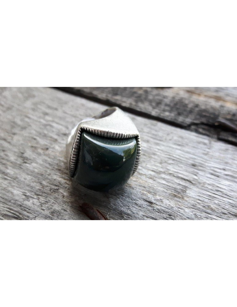 Ring Damenring Metall Kunststoff tannengrün grün altsilber