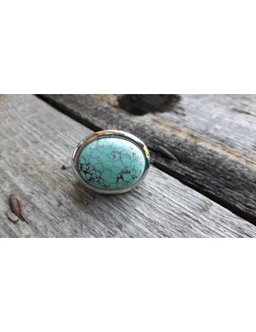 Ring Damenring Metall Kunststoff türkis silber schwarz oval elastisch