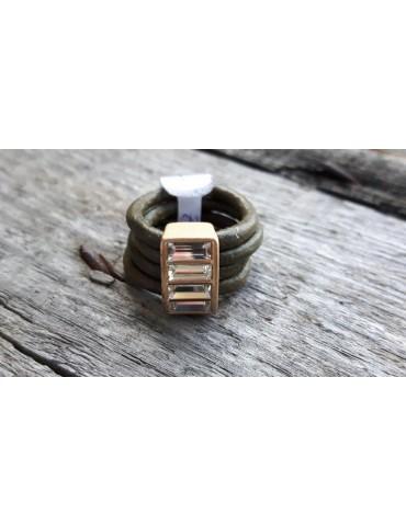 Ring Damenring Echtes Leder Metall oliv khaki gold weiß Strass Stein