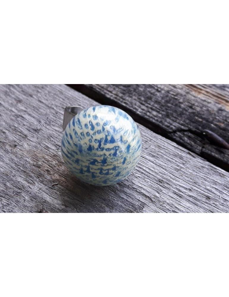 Culture Mix Ring Damenring Metall Perlmutt blau creme Kugel A2117B