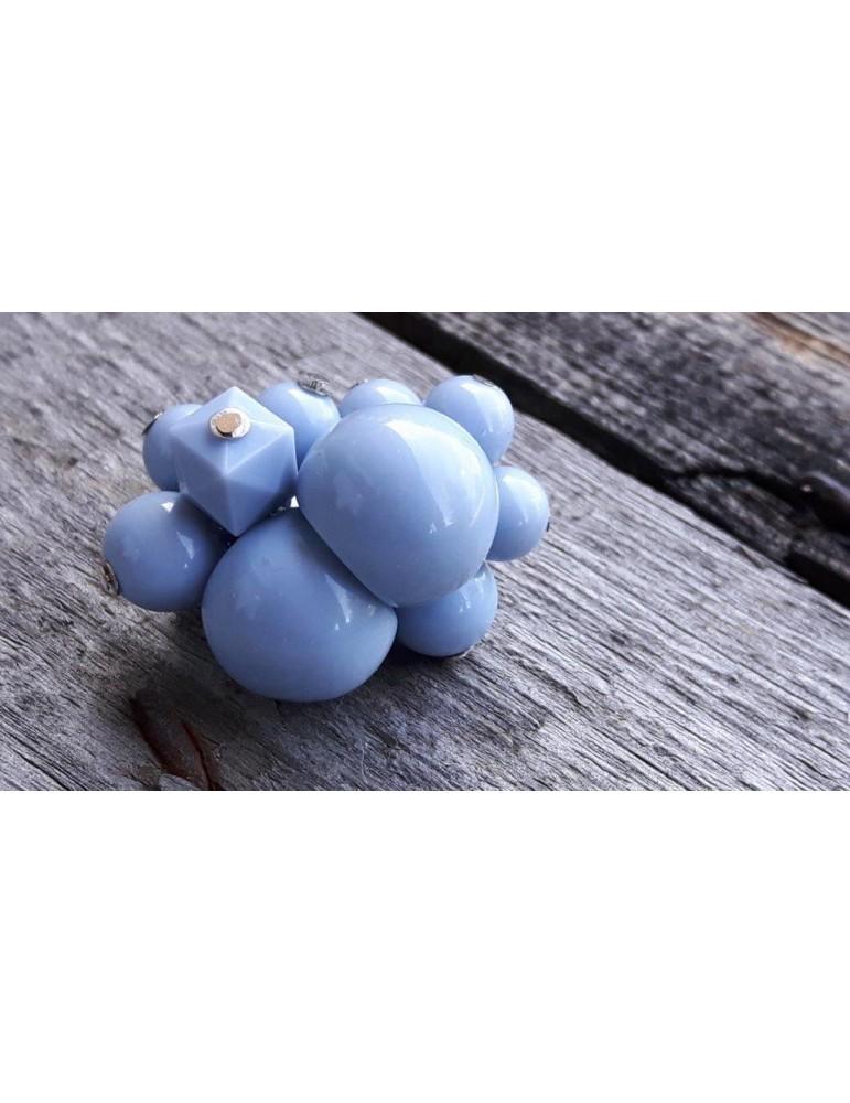 Ring Damenring Fingerring Kunststoff hellblau blau Perlen elastisch