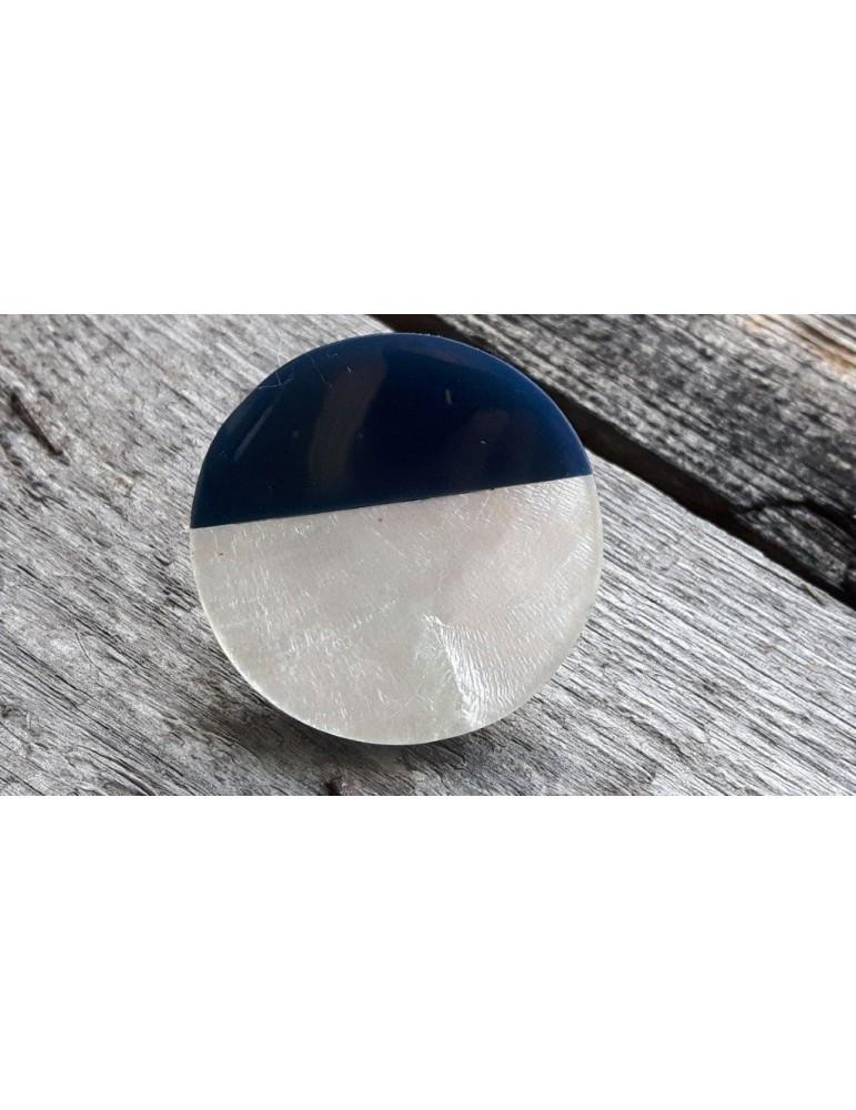 Ring Damenring Fingerring Metall Perlmutt dunkelblau creme silber verstellbar
