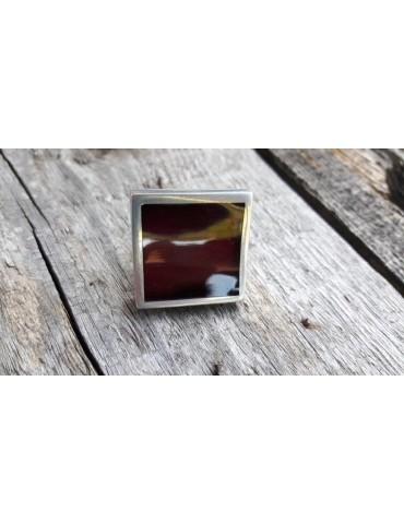 Culture Mix Ring Damenring Metall Perlmutt weinrot silber eckig verstellbar 7671PO