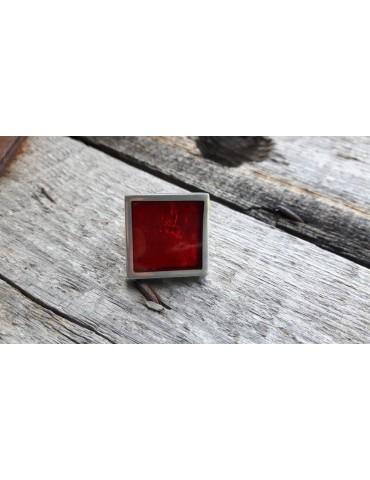 Culture Mix Ring Damenring Metall Perlmutt rot silber eckig verstellbar 7671R