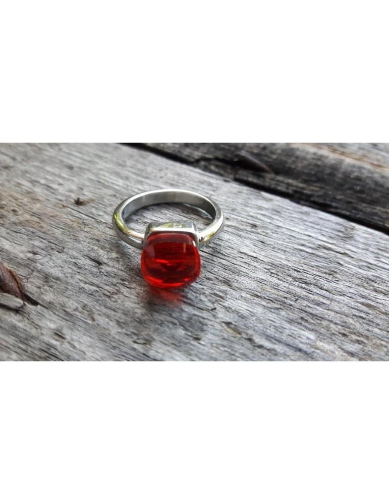 Edelstahl Ring Damenring Fingerring Kunststoff rot silber Stein