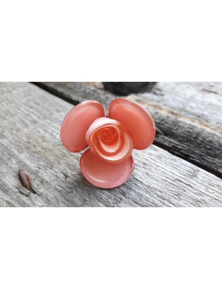 Ring Damenring Fingerring Kunststoff lachs Blume dehnbar