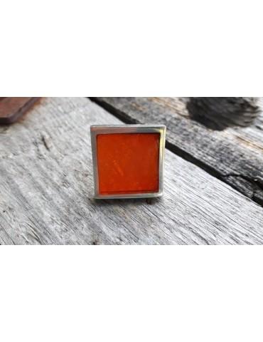 Culture Mix Ring Damenring Metall Perlmutt orange silber eckig verstellbar 7671O