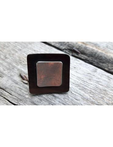 Culture Mix Ring Damenring Holz Metall braun silber eckig 1146