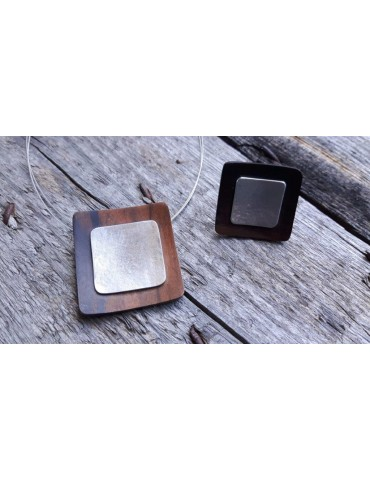 Culture Mix Ring Damenring Holz Metall braun...