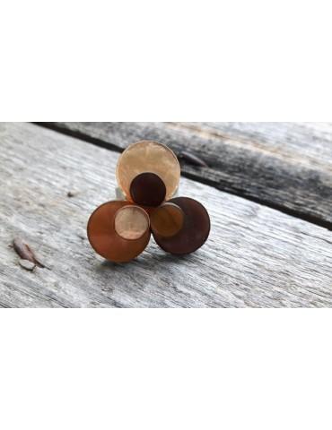Culture Mix Ring Damenring Metall Perlmutt ocker braun Blüte verstellbar 4472B