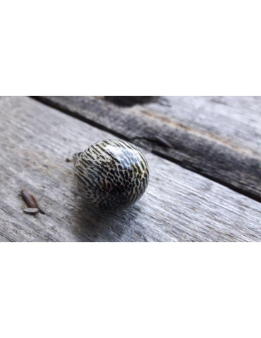 Culture Mix Ring Damenring Metall Perlmutt schwarz creme Kugel verstellbar 2117A