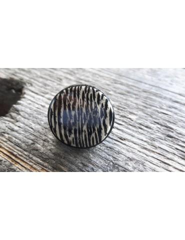Culture Mix Ring Damenring Kunststoff schwarz creme rund verstellbar 2115M