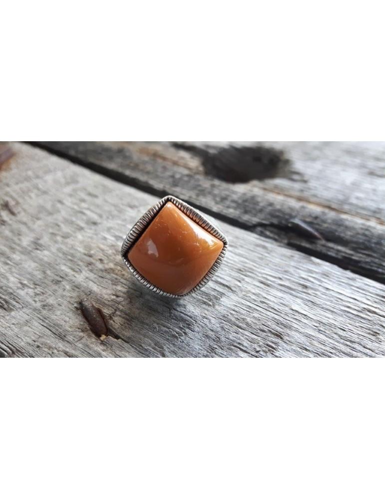 Ring Damenring Metall Kunststoff ocker orange altsilber