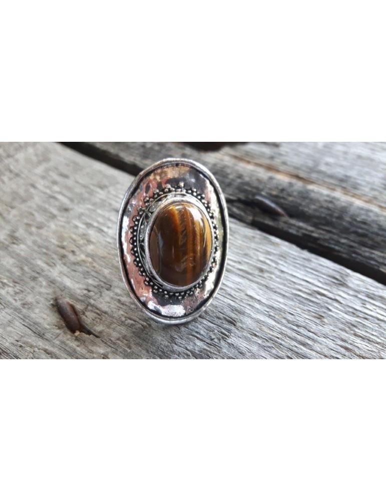 Ring Damenring Fingerring Metall Kunststoff braun altsilber 344093