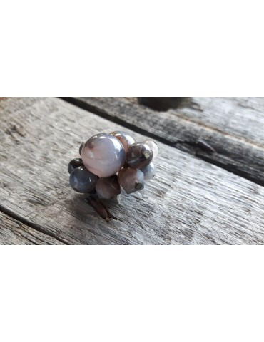Ring Damenring Fingerring Kunststoff braun Perlen elastisch